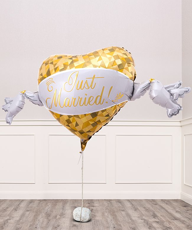 Riesenballon Golden Heart Just Married - jetzt bestellen bei Valentins
