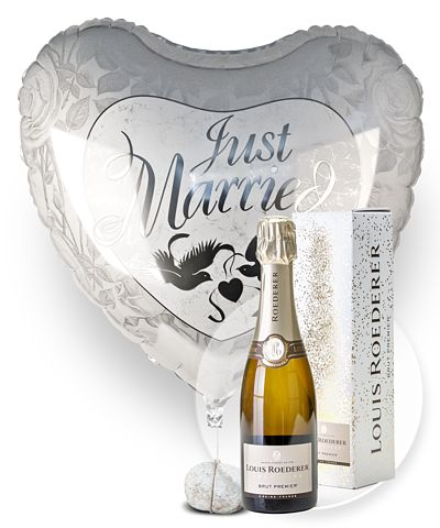 Riesenballon Just Married und Champagner Louis Roederer Brut Premier