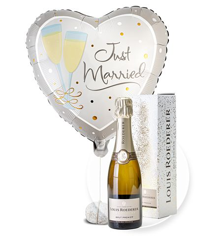 Ballon Just Married Herz und Champagner Louis Roederer Brut Premier